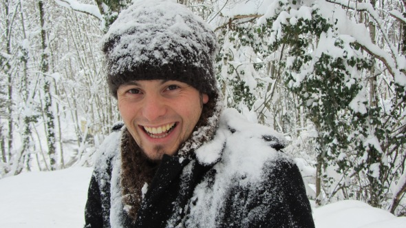 Matt after he made a bunch of snow fall of a tree--onto himself ;)