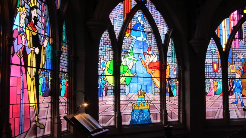 Stained glass windows inside the castle.